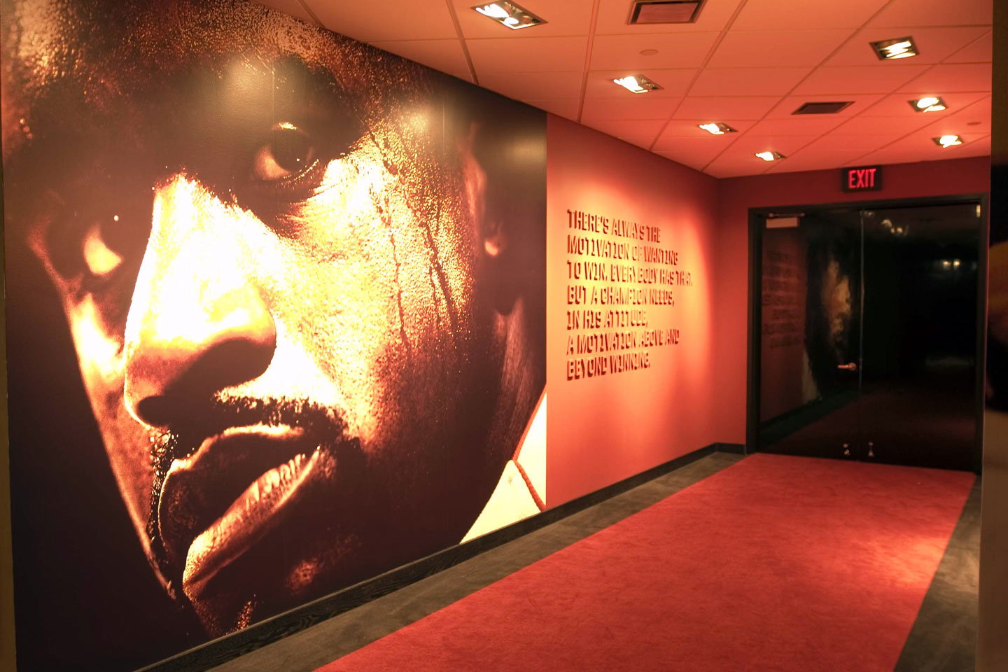 photo of a hallway in the american airlines arena champion hall