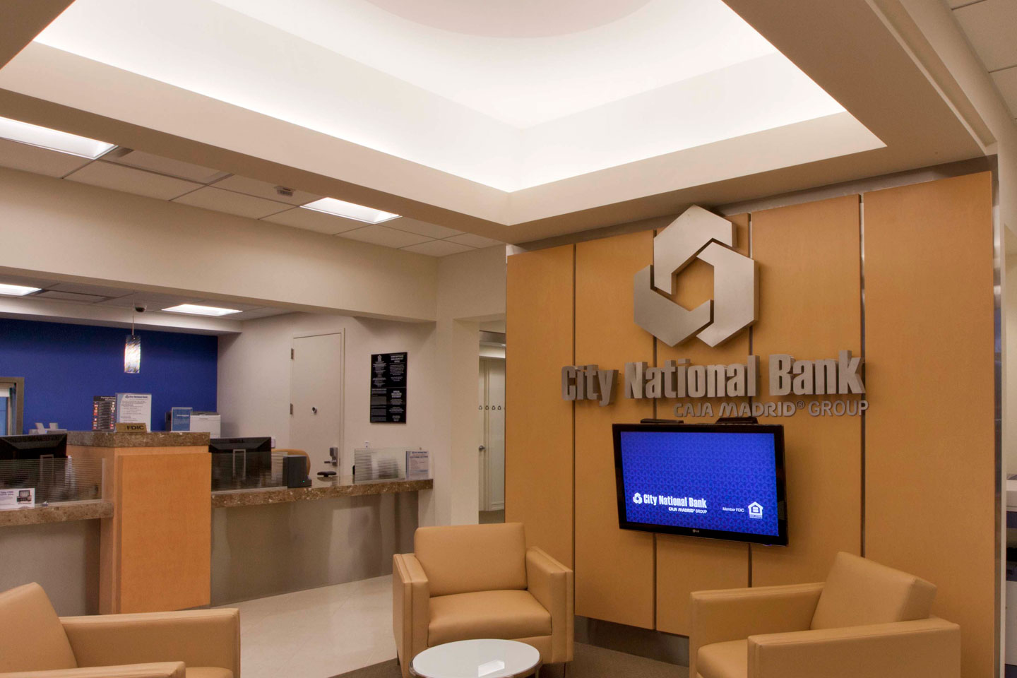 interior shot of the city national bank